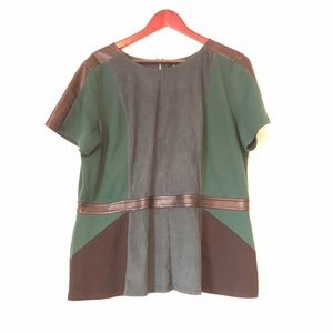 Green leather and suede contour top